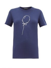 VIKA GAZINSKAYA Balloon-print navy cotton-blend T-shirt – casual blue tee
