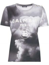 BALMAIN cloud print logo T-shirt – grey designer tee