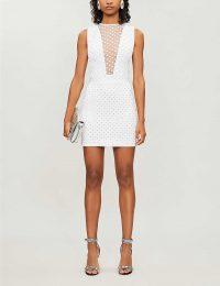BALMAIN Stud-embellished sleeveless stretch-jersey mini dress in blanc / argent – designer evening glamour