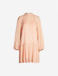 BAUM UND PFERDGARTEN Angelica metallic-pattern silk-blend mini dress in pink ~ drop waist dresses