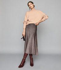 REISS BEA METALLIC PLEAT-EFFECT SKIRT BRONZE ~ flared knitted skirts