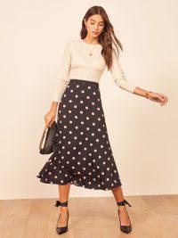 REFORMATION Bea Skirt in Kisses | spot print midi