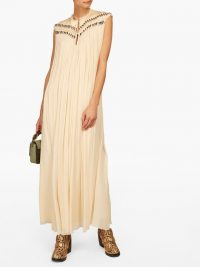 CHLOÉ Beaded beige silk-georgette gown