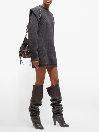 ISABEL MARANT Beatsy balloon-sleeve ribbed-knit sweater dress in slate grey | bohemian jumper dresses