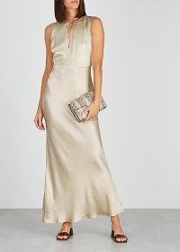BEC & BRIDGE Sylvie champagne satin gown ~ long luxe event wear
