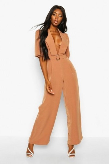 boohoo Belted Puff Sleeve Jumpsuit in camel – deep V neckline jumpsuits - flipped