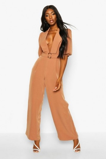 boohoo Belted Puff Sleeve Jumpsuit in camel – deep V neckline jumpsuits