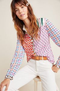 Maeve Bernadette Mixed-Print Blouse Red Motif / checked sleeve multi printed shirt