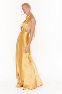 NASTY GAL Big Entrance Satin Maxi Dress in Mustard