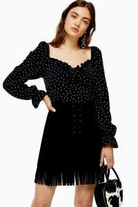 TOPSHOP Black Fringe Suede Mini Skirt