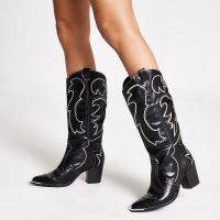 RIVER ISLAND Black high leg heel cowboy boots ~ western style footwear