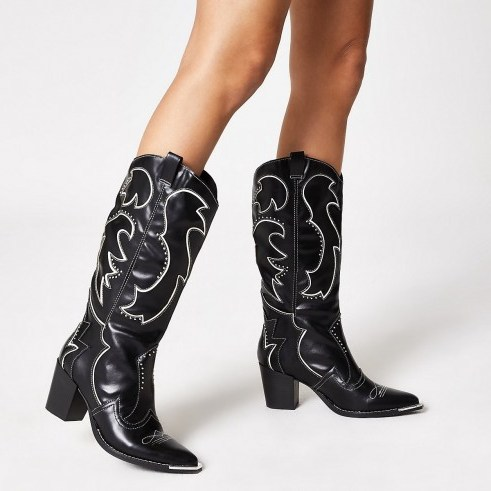 RIVER ISLAND Black high leg heel cowboy boots ~ western style footwear - flipped