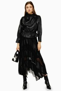 Topshop Black Jacquard Lace Trim Midi Skirt in Black | semi sheer handkerchief hem skirts