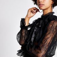RIVER ISLAND Black lace ruffle blouse – sheer high neck blouses