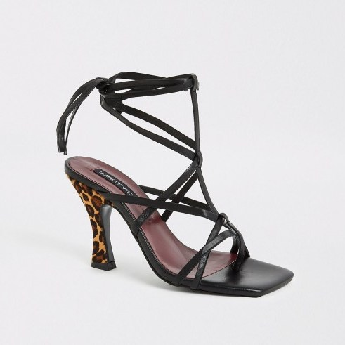 RIVER ISLAND Black leopard print strappy sandal ~ glam party heels - flipped