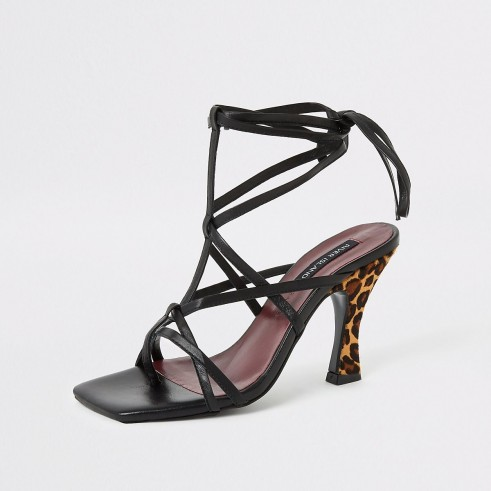 RIVER ISLAND Black leopard print strappy sandal ~ glam party heels