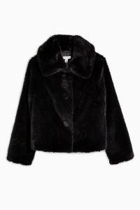 TOPSHOP Black Luxe Faux Fur Coat / vintage style winter jacket