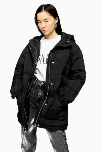 TOPSHOP Black Padded Puffer Jacket – hooded winter jackets