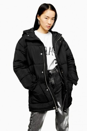 TOPSHOP Black Padded Puffer Jacket – hooded winter jackets - flipped