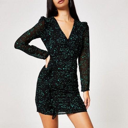 RIVER ISLAND Black printed ruched long sleeve mini dress ~ heart print lbd - flipped