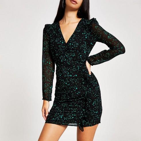 RIVER ISLAND Black printed ruched long sleeve mini dress ~ heart print lbd