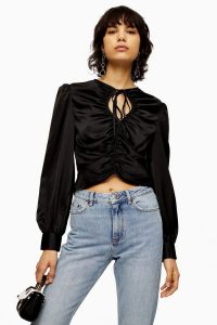 Topshop Black Ruched Keyhole Prairie Blouse | gathered tie neck top