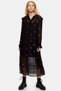 TOPSHOP Black Sheer Embroidered Floral Midi Dress