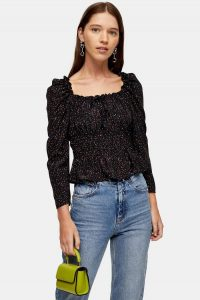 Topshop Black Spot Ruched Prairie Blouse | gathered blouses