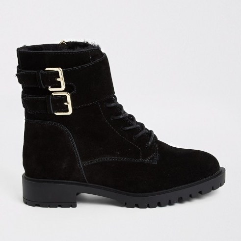 RIVER ISLAND Black suede lace-up ankle cuff chunky boots ~ double buckled boot - flipped