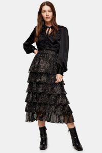 TOPSHOP Black Tiered Floral Midi Skirt