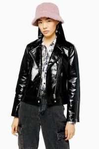 TOPSHOP Black Vinyl Jacket / high-shine jackets