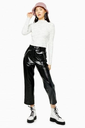 TOPSHOP Black Vinyl Straight Leg Trousers / high-shine pants