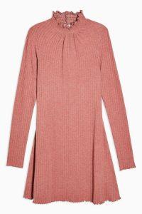 TOPSHOP Blush Pink Cut And Sew Shirred Mini Dress – high neck dresses
