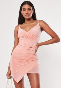 MISSGUIDED blush strappy slinky wrap bodycon mini dress ~ asymmetric ruched going out dresses