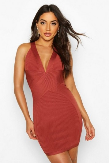 boohoo Boutique Bandage Cross Front Mini Dress in terracotta – fitted plunge-front dresses