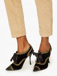 DOLCE & GABBANA Braided-trim lace-up velvet pumps in black ~ beautiful Italian shoes
