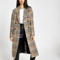 RIVER ISLAND Brown check double-breasted longline coat ~ classic checked coats