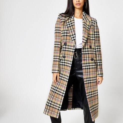 RIVER ISLAND Brown check double-breasted longline coat ~ classic checked coats - flipped