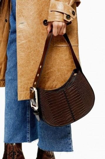 TOPSHOP Brown Crocodile Shoulder Bag / croc print bags - flipped