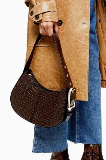 TOPSHOP Brown Crocodile Shoulder Bag / croc print bags