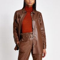 RIVER ISLAND Brown faux leather shirt