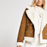River Island Brown faux suede shearling fallaway jacket | autumn jackets