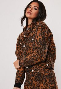 MISSGUIDED brown leopard print co ord denim jacket ~ animal prints