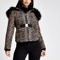 RIVER ISLAND Brown leopard print fitted padded jacket / glamorous winter jackets
