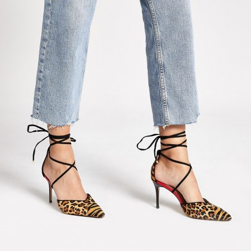 RIVER ISLAND Brown leopard print tie up court shoe / strappy pumps