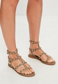 MISSGUIDED brown studded gladiator sandals ~ strappy stud embellished flats