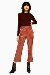 TOPSHOP Brown Vinyl Straight Leg Trousers / high shine cropped pants