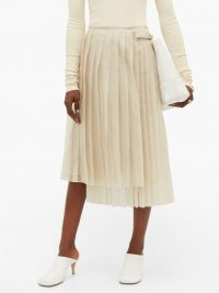 FENDI Buckled asymmetric pleated silk-organza skirt in cream
