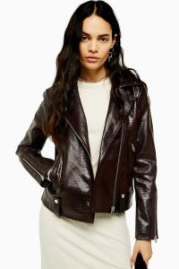 TOPSHOP Burgundy Crocodile Biker Jacket / croc embossed PU jackets