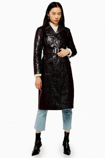 TOPSHOP Burgundy Faux Crocodile Vinyl Coat / belted croc coats